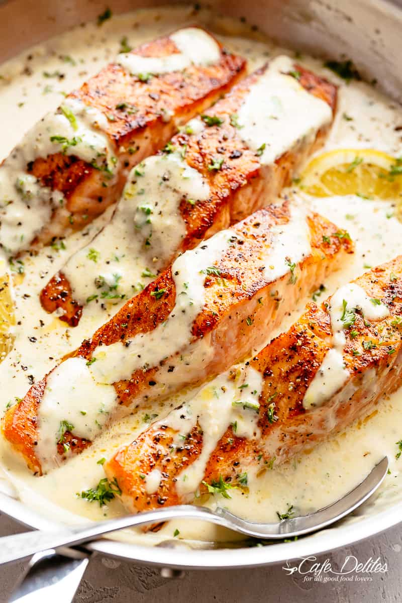 How To Cook Salmon with Creamy Garlic Sauce
